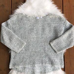 [Gap] Gray White boat neck chunky sweater - Medium